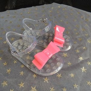 NEW Baby Girl Shoe Sz 5 GAP Pink Bow Jelly Sandals